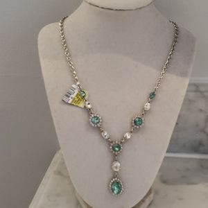 Aqua and clear stone drop necklace